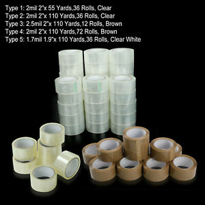 12 36 72 Rolls Clear Packing Packaging Carton Sealing Tape 2x110 Yards