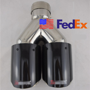Usa Gloss Carbon Fiber stainless 2 5 Inlet Dual Tip Car Exhaust Pipe Universal