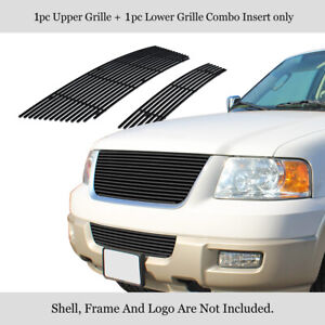 Fits 2003 2006 Ford Expedition Stainless Steel Black Billet Grille Combo