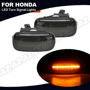 2x Amber Led Side Marker Light Smoked For Honda Civic Cr V Acura Rsx Integra Fit