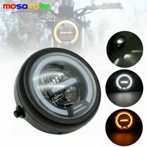 Universal 6 5 In Led Motorcycle Drl Headlight Hi lo Beam For Softail Cafe Racer