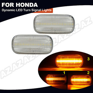 2x Sequential Amber Led Side Marker Light For Honda Civic Cr V Acura Rsx Integra