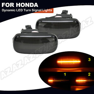 2x Sequential Led Side Marker Light Smoke For Honda Civic Cr V Acura Rsx Integra