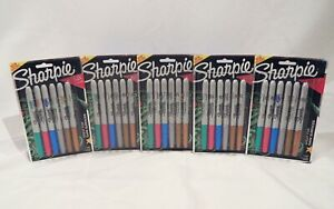 New Sharpie Fine Point Permanent Metallic Markers Assorted 6 colors 2062644 5 pk