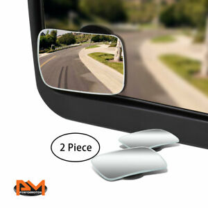 Pair Adjustable Blind Spot Mirror Square Style Convex Back Rear 2 Side View 2