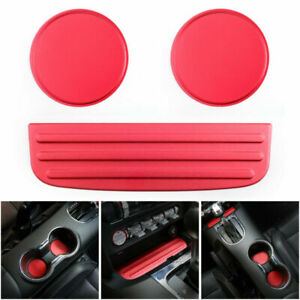 The New Car Cup Holder Mat Non slip Pad Mat Cover Kit Red Fit Ford Mustang 15 18