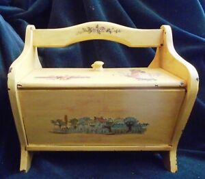 Vintage Painted Decoupage Child S Yellow Wood Sewing Box One Handle Two Lids