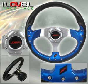 Universal Jdm Sport 320mm Racing 6 bolt Steering Wheel Pvc Leather Horn Blue