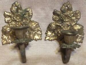 Vintage Antique Old Set Pair Of 2 Two Wall Candle Sconce Sconces Floral Brass