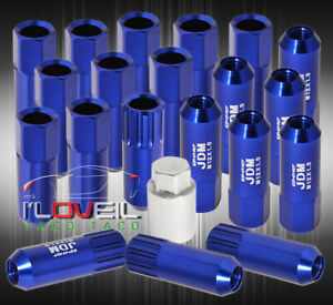 Universal M12x1 5mm Locking Lug Nuts 20p Jdm Vip Extended Aluminum Anodized Blue