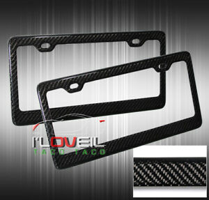 2x Carbon Fiber Plastic License Plate Frame High Quality Twill Weaves Cover Jdm