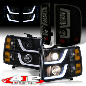 Led Black Amber Headlights smoked Tube Tail Lights For 2007 2013 Chevy Silverado
