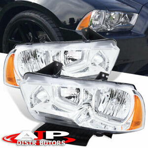 Chrome Oe Style Replacement Head Lights Lamps Lh Rh For 2011 2014 Dodge Charger