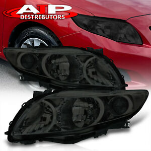 Smoked Lens Replacement Head Lights Lamps Assembly For 2009 2010 Toyota Corolla