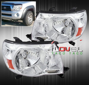 For 05 11 Tacoma Direct Replacement Driving Head Lights Lamps Set Clear Amber