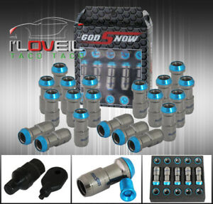 M12 X 1 5mm 20pc Cnc Wheel Rims Lug Nuts Formula Style Gunmetal Blue Key Lexus