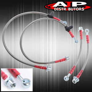 Front Rear Stainless Steel Hose Oil Brake Line Red For 2000 2005 Toyota Celica