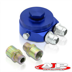 Universal Aluminum Sandwich Oil Adapter Filter Cooler Plate 10an Fitting Blue