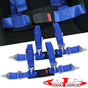 Jdm 4 Point Strap Racing Seat Belt Harness Blue For Nissan Sentra Maxima Altima