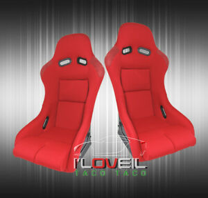 Red Cloth Full Firm Hold Bucket Car Racing Seats W Side Mount Slider Rails Pair