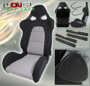 One Fully Reclainable cuga Style Racing Black gray Cloth Seat Drag timeattack