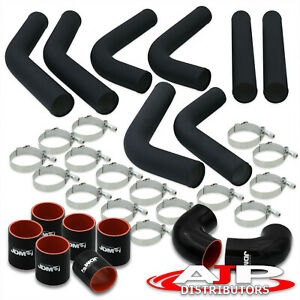 8 Piece Black 2 5 Intercooler Piping Kit T bolt Clamps blk Silicone Couplers