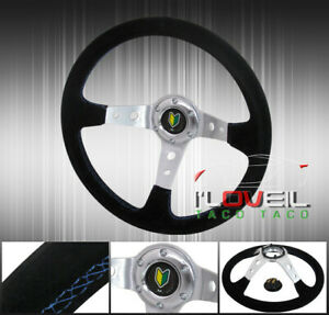 350mm Suede Blue Stitching 6 Bolt Steering Wheel Jdm Leaf Green Yellow Button