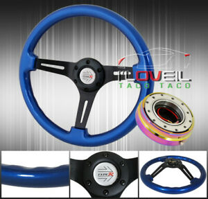 345mm Blue Wood Grain Race Type Steering Wheel + Neo Chrome Quick Release Kit $83.99