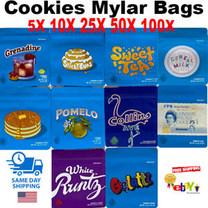 New Empty Cookies Candy Resealable Mylar Bags W Stickers Zip Lock quick Ship