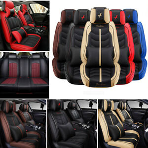 14pc Pu Leather Car Seat Covers Universal 5 Seats Protectors Auto Suv Interior