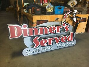 Large Lighted Outdoor Business Sign 4x8 Dinners Served