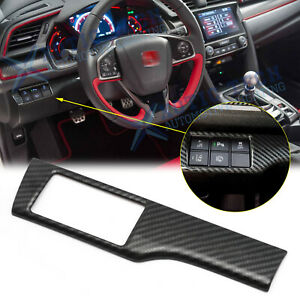 Carbon Fiber Style Headlight Switch Button Cover Trim For Honda Civic 2016 2020