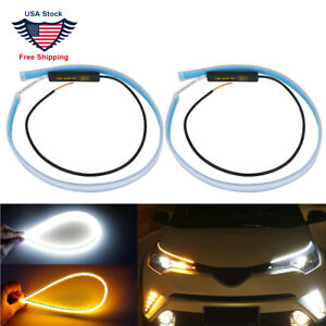 2p 60cm Led Drl Light Slim Amber Sequential Flexible Turn Signal Strip Headlight