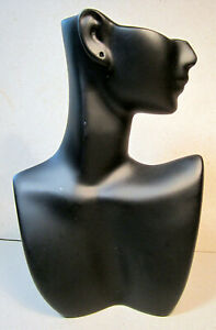 Black Face Side View Head Bust Jewelry Shop Display Stand Earring Necklace Scarf