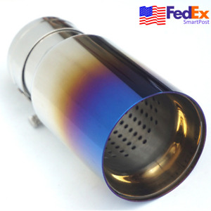 Blue Chrome Stainless Car Vehicle Exhaust Tip Tail Muffler Pipe 60mm Inlet Usa