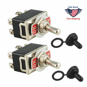 2pcs 6 pin Metal Copper Dpdt On on Toggle Switch Ac15a 250v W Waterproof Boot