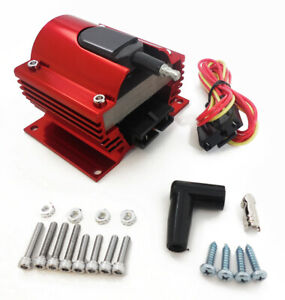 Ignition Coil 50 000 Volts E Core Hei External Power Coil Street Racing Red 12v