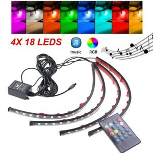 4pcs 72 Led Car Interior Atmosphere Neon Lights Strip With Ir Remote Control Us