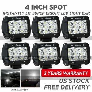 6pcs 4inch Pods Led Work Light Spot Lights Offroad Truck Tractor 12v 24v Cube
