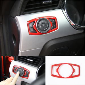 Fits Ford Mustang 2015 2020 Red Car Headlight Switch Trim Decor Cover