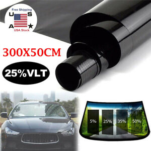 Vlt 25 Uncut Roll 20 X120 10ft Window Tint Film Charcoal Black Car Glass Office