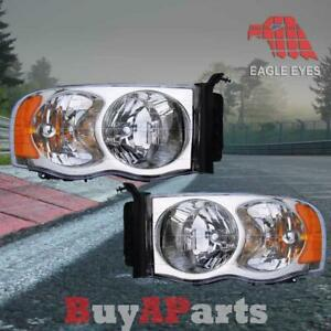 Pair Replacement Headlights For 2003 2005 Dodge Ram 3500 Bulbs Socket Included