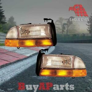 Pair Replacement Headlights For 1998 2004 Dodge Durango Bulbs Socket Included