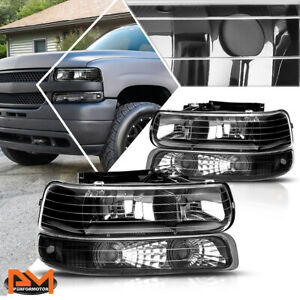 For 99 02 Chevy Silverado 00 06 Suburban Bumper Headlight lamp Clear Side Black