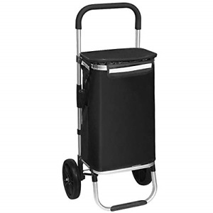 Shopping Tote Cart Foldable Grocery Cart Folding Laundry Pull Cart With Wheels