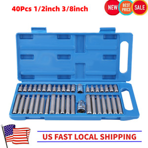 40pcs Hex Star Torx Socket Bit Set Tool Kit With Case 1 2 3 8 Drive Adaptor