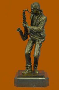 Bronze Saxophone Player Sculpture Statue Figure Music Gift Orchestra Large Gift
