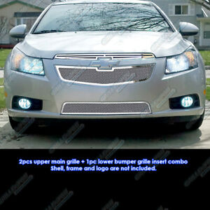 Custom Fits 2011 2013 Chevy Cruze Stainless Steel Mesh Grill Combo