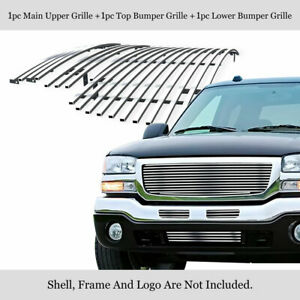 Fits 2003 2006 Gmc Sierra 1500 2500hd 3500 Stainless Billet Grille Combo