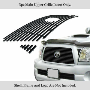 Fits 2005 2010 Toyota Tacoma Main Upper Stainless Black Billet Grille Insert